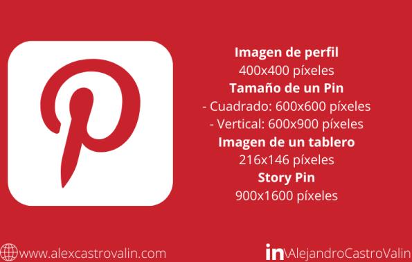 medidas del tamaño de las imagenes en pinterest