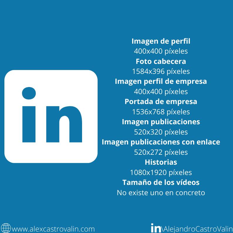 infografia del tamaño de las imagenes en la red social linkedin