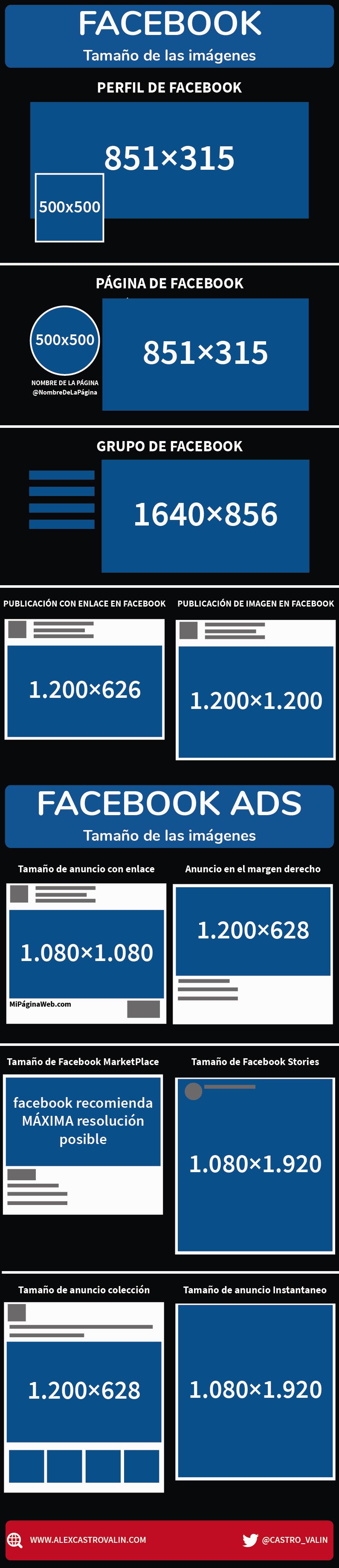 Tamaño y medidas para facebook