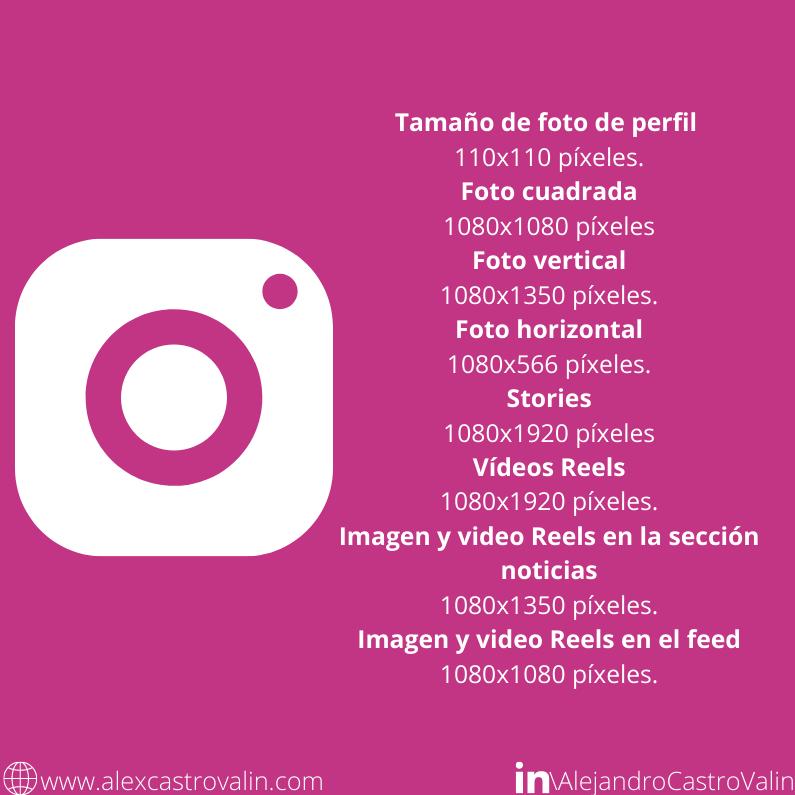 infografia dimensiones y tamaño de las imagenes y videos de instagram
