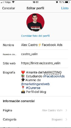 apartados para configurar perfil de instagram empresa