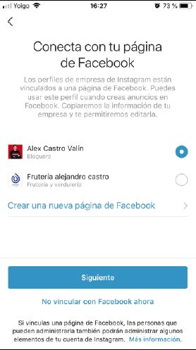 vincular cuenta de facebook con instagram
