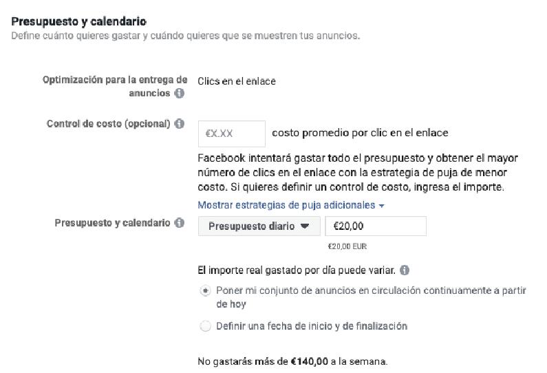 configurar el presupuesto de anuncio en facebook e instagram