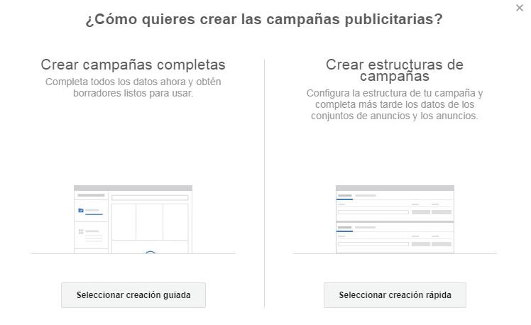opciones para crear campañas publicitarias en facebook e instagram