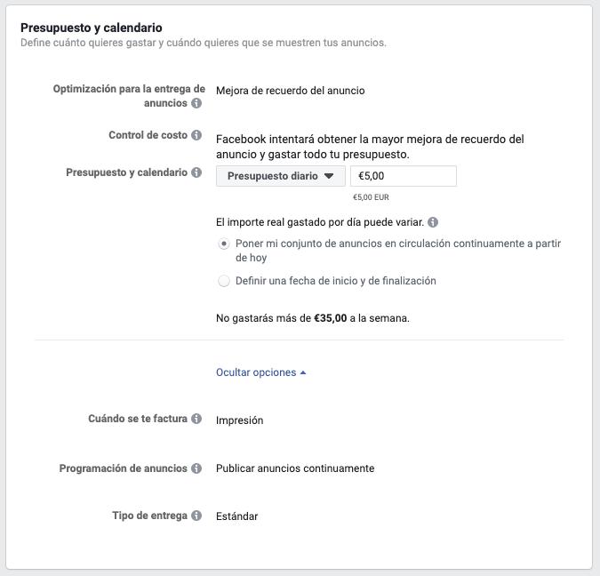 configuracion del presupuesto en facebook