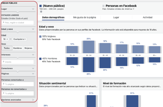 Crear publico en facebook audience