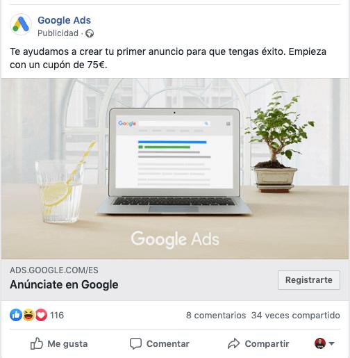 tipo de anuncio de oferta en facebook