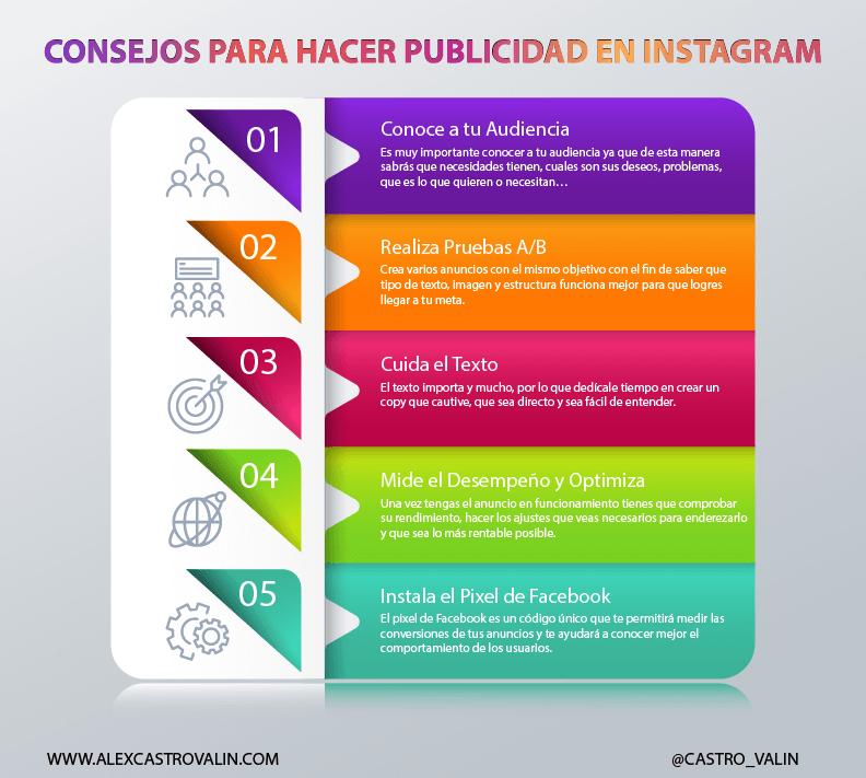 Infografia de consejos para hacer publicidad en Instagram