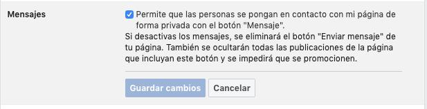 botón para habilitar facebook messenger