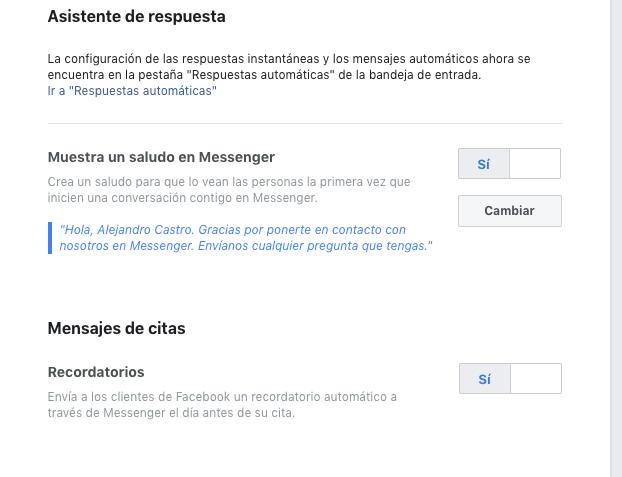 apartado para cambiar el mensaje de saludos en facebook messenger