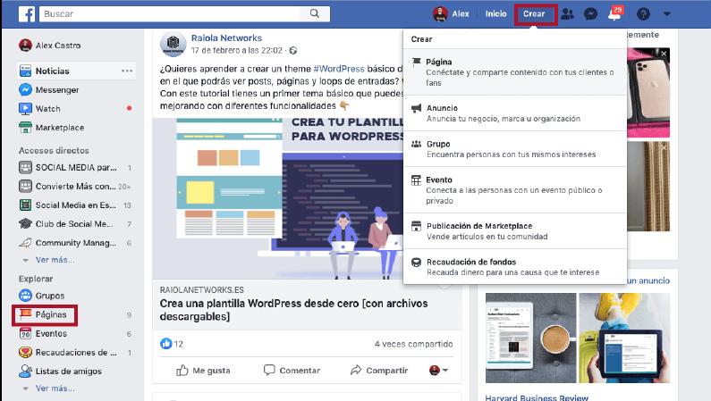 metodos para crear una pagina de facebook