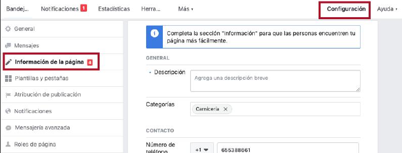 donde configurar la informacion de tu fan page
