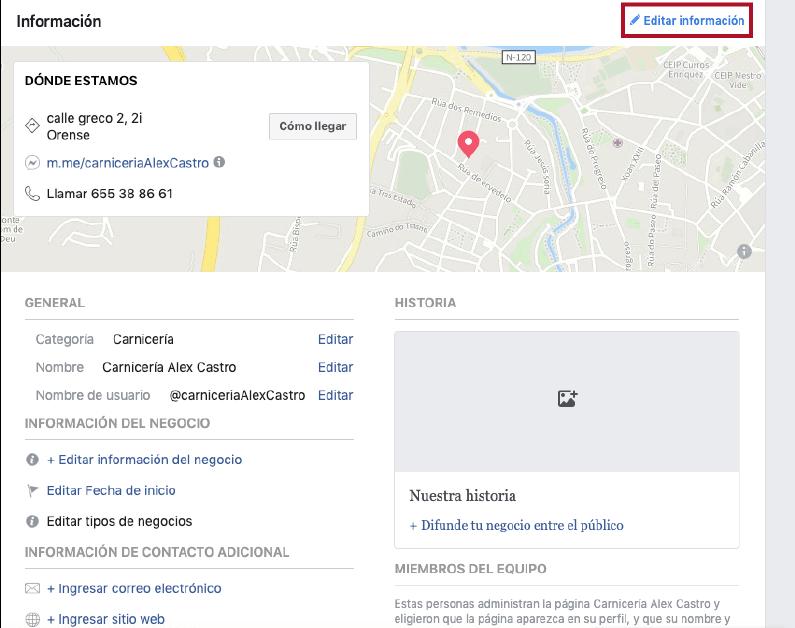 editar la información de tu fan page
