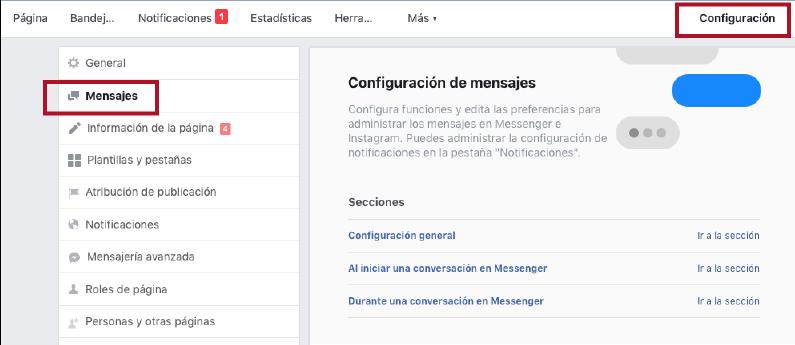 como configurar los mensajes en tu fan page