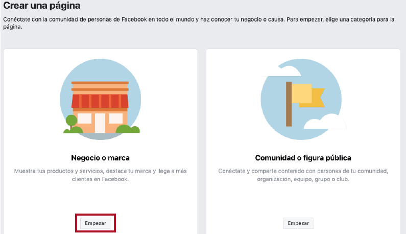 tipos de categorias para crear una fan page