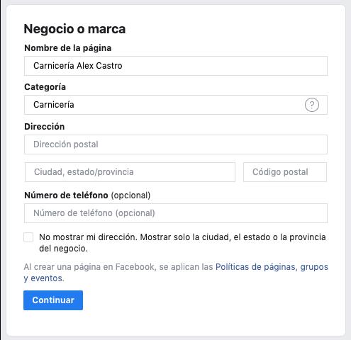 subcategoria en una pagina de empresa de facebook