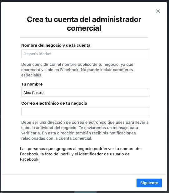 Apartados para crear tu cuenta de facebook business manager