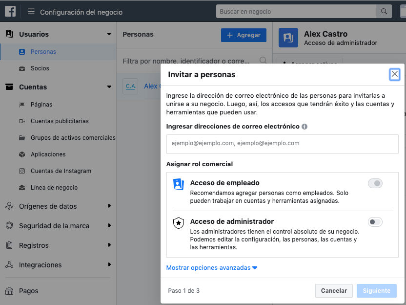 añade personas o socios al facebook business manager
