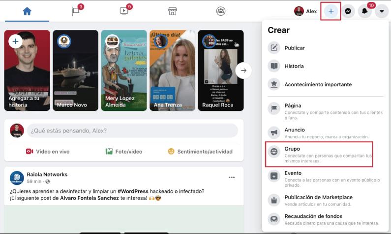 boton para crear grupo de faceook