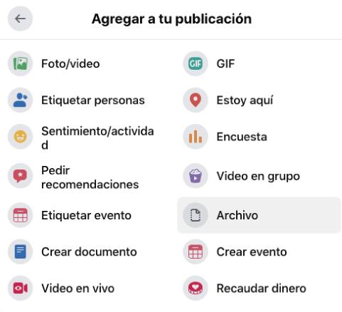 como adjuntar archivos en facebook