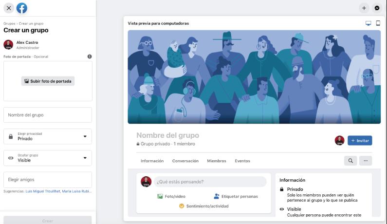 configuracion básica de un grupo de facebook