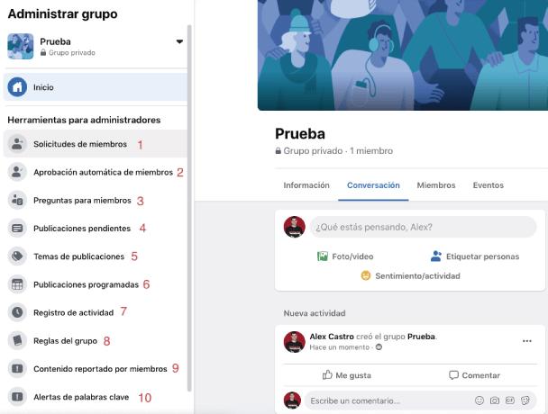 herramientas y funciones de los administradores en los grupos de facebook
