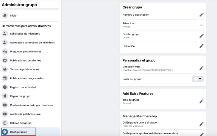 Configuración avanzada para los grupos de facebook
