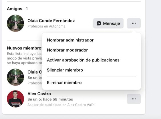 asignar moderadores o administradores en los grupos de facebook